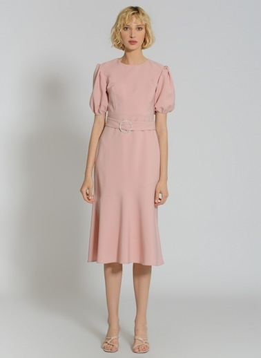 People By Fabrika Taşlı Tokalı Elbise Gül Kurusu